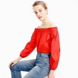 J Crew Red Long Sleeve Off-Shoulder Cotton Top 0